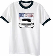 Ford Mustang T-Shirt USA 1964 Country Ringer Tee White/Black