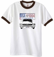 Ford Mustang T-Shirt USA 1964 Country Ringer Tee White/Brown