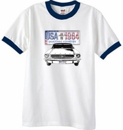 Ford Mustang T-Shirt USA 1964 Country Ringer Tee White/Navy