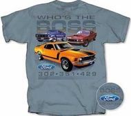 Ford Mustang T-Shirt - Who's The Boss Adult Slate Blue Tee Shirt
