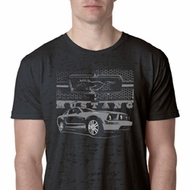 Ford Mustang with Grill Mens Burnout Shirt