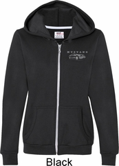 Ford Mustang with Grill Pocket Print Ladies Full Zip Hoodie