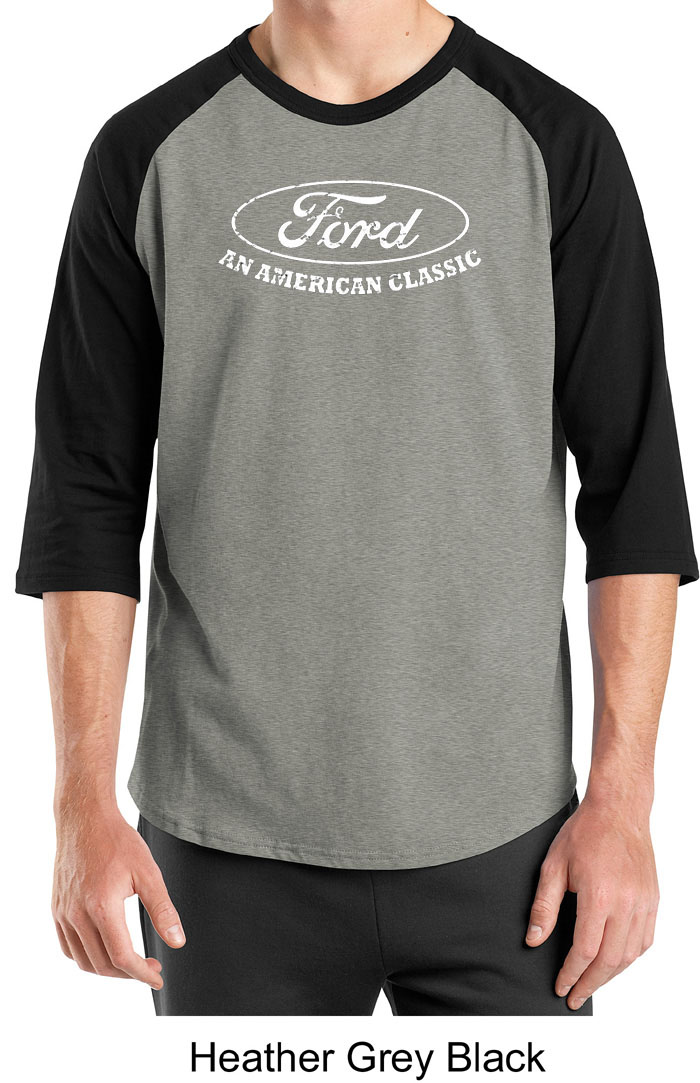 Ford shirt distressed an american classic adult raglan for All american classic shirt