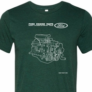 Ford Shirt Engine Parts Tri Blend Tee