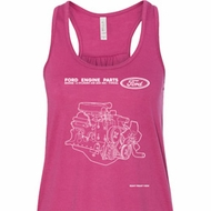 Ford Tank Top Engine Parts Ladies Flowy Racerback