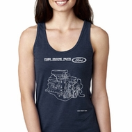 Ford Tank Top Engine Parts Ladies Ideal Racerback