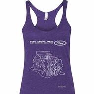Ford Tank Top Engine Parts Ladies Tri Blend Racerback