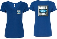 Ford Tee Built Ford Tough (Front & Back) Ladies V-neck
