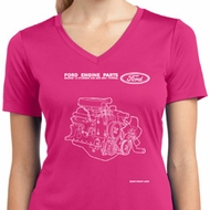 Ford Tee Engine Parts Ladies Dry Wicking V-neck