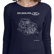 Ford Tee Engine Parts Ladies Long Sleeve Shirt