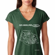 Ford Tee Engine Parts Ladies Tri Blend V-neck