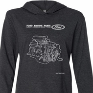 Ford Tee Engine Parts Lightweight Hoodie