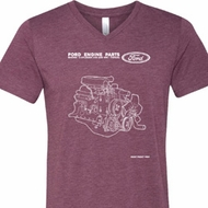 Ford Tee Engine Parts Tri Blend V-neck