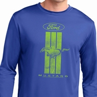Ford Tee Green Mustang Stripe Dry Wicking Long Sleeve