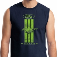 Ford Tee Green Mustang Stripe Muscle Shirt
