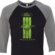 Ford Tee Green Mustang Stripe Raglan Shirt