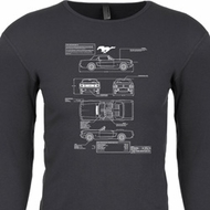 Ford Tee Mustang Blue Print Thermal Shirt