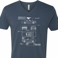Ford Tee Mustang Blue Print V-neck