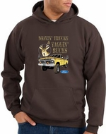 Ford Truck Hoodie Driving and Tagging Bucks Brown Hoody