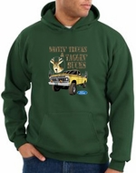 Ford Truck Hoodie Driving and Tagging Bucks Hoody Dark Green