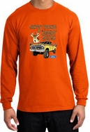 Ford Truck Shirt Driving and Tagging Bucks Long Sleeve Orange T-Shirt