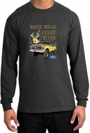Ford Truck Shirt Driving and Tagging Bucks Long Sleeve Shirt Charcoal