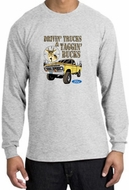 Ford Truck Shirt Driving and Tagging Bucks Long Sleeve Tee Ash
