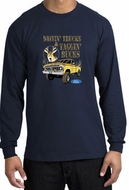 Ford Truck Shirt Driving and Tagging Bucks Long Sleeve Tee Navy