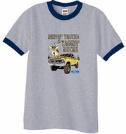 Ford Truck Shirt Driving and Tagging Bucks Ringer Tee Grey/Navy Tee