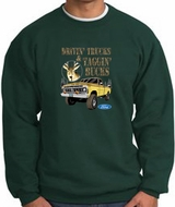 Ford Truck Sweatshirt Driving and Tagging Bucks Dark Green Sweat Shirt