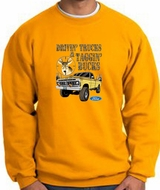 Ford Truck Sweatshirt Driving and Tagging Bucks Gold Sweat Shirt