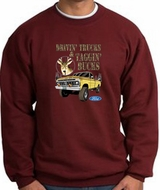 Ford Truck Sweatshirt Driving and Tagging Bucks Maroon Sweat Shirt