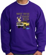 Ford Truck Sweatshirt Driving and Tagging Bucks Purple Sweat Shirt