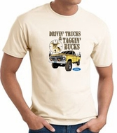 Ford Truck T-shirt - Driving and Tagging Bucks Adult Natural Tee Shirt