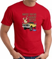 Ford Truck T-shirt - Driving and Tagging Bucks Adult Red Tee Shirt