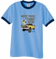 Ford Truck T-Shirt Driving and Tagging Bucks Ringer Carolina Blue/Navy