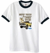 Ford Truck T-Shirt Driving and Tagging Bucks Ringer Tee White/Black