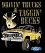 Ford Truck T-Shirt Driving and Tagging Bucks Ringer Tee White/Navy
