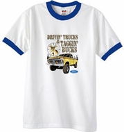 Ford Truck T-Shirt Driving and Tagging Bucks Ringer Tee White/Royal