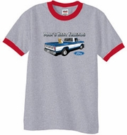 Ford Trucks T-Shirt Mans Best Friend Ringer Tee Heather Grey/Red