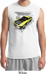 Ford Vintage Yellow Mustang Boss Mens White Muscle Shirt