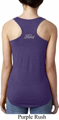 Ford White Back Print Ladies Ideal Tank Top