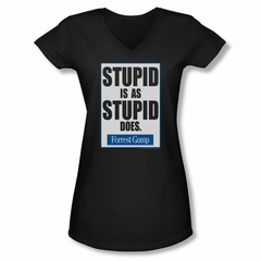 Forrest Gump Shirt Juniors V Neck Stupid Is As Stupid Does Black Tee T-Shirt