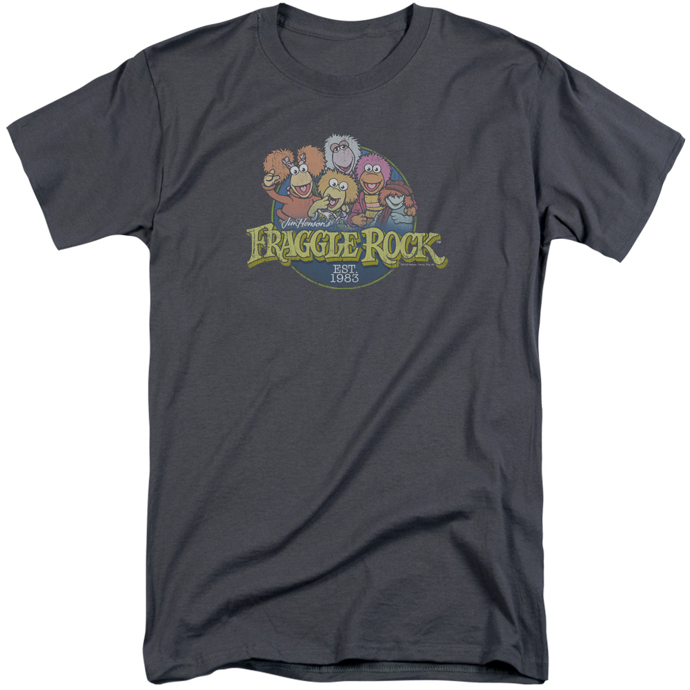 Fraggle rock shirt circle logo charcoal tall t shirt for Big and tall rock t shirts