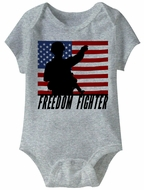 Freedom Fighter Funny Baby Romper Grey Infant Babies Creeper