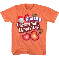 Fun Dip Shirt Cherry Yum Diddly Dip Heather Orange T-Shirt