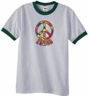 Funky 70s Peace Ringer T-shirts