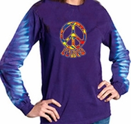 Funky 70s Peace Sign Shirt Long Sleeve Gemtop Tee