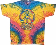 Funky 70s Peace Tie Dye Woodstock Color Adult Unisex T-shirt Tee Shirt