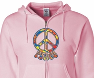 Funky Peace Sign Zippered Hoodie - Unisex Adult Size